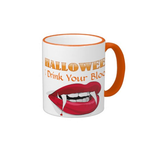 Vampire Lips and Fangs Drink Your Blood Halloween Coffee Mug