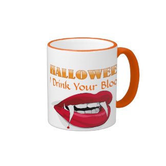 Vampire Lips and Fangs Drink Your Blood Halloween Ringer Coffee Mug