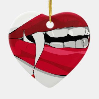 vampire lips ceramic heart ornament