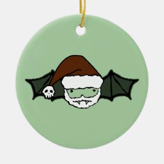Vampire Santa Bat Round Ceramic Ornament