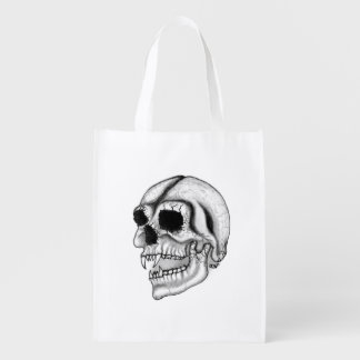Vampire Skull black and white Design Reusable Grocery Bag