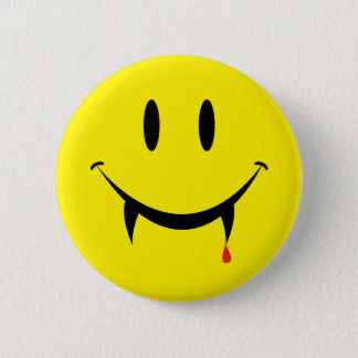 Vampire Smiley Face 2 Inch Round Button