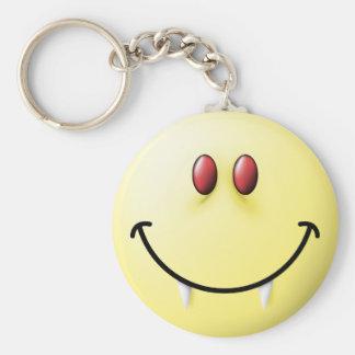 Vampire Smiley Face Basic Round Button Keychain