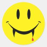 Vampire Smiley Face Sticker