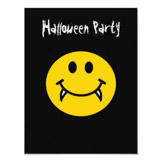 """Vampire smiley face with fangs 4.25"""" x 5.5"""" invitation card"""
