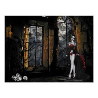 Vampire Standing in the Window Light Poster Print