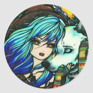 Vampire White Wolf Fantasy Fairy Comic Art Classic Round Sticker