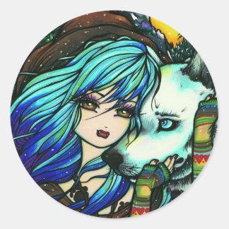 Vampire White Wolf Fantasy Fairy Comic Art Round Sticker