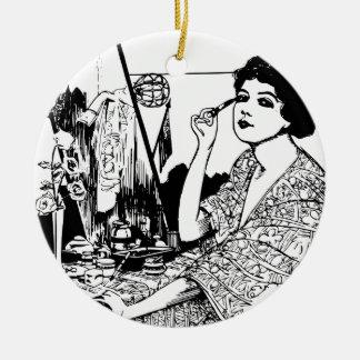 Vampire Woman Round Ceramic Ornament