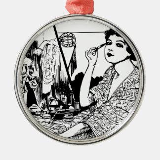 Vampire Woman Silver-Colored Round Ornament