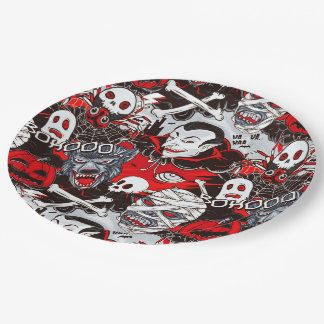 "Vampires Night Paper Plates 9"" 9 Inch Paper Plate"