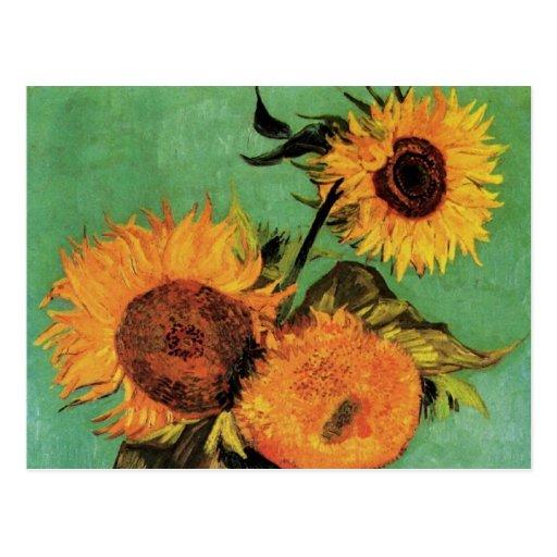 Van Gogh 3 Sunflowers in a Vase Vintage Fine Art Postcard