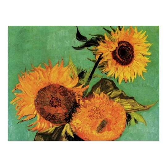 Van Gogh 3 Sunflowers in a Vase Vintage Fine Art Postcard