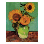 Van Gogh 3 Sunflowers in a Vase Vintage Floral Art
