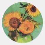 Van Gogh 3 Sunflowers in a Vase Vintage Floral Art Round Sticker