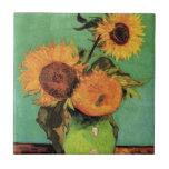 Van Gogh; 3 Sunflowers in a Vase, Vintage Flowers Tile