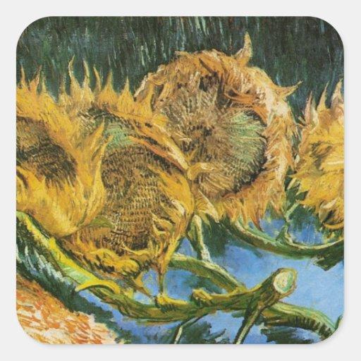 Van Gogh, 4 a coupé des tournesols, fleurs Autocollants Carrés