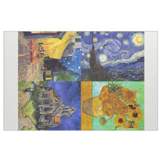 Van Gogh 4-up Starry Night Cafe Sunflowers Church Fabric