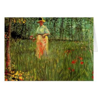 Van Gogh; A Woman Walking in a Garden Greeting Card