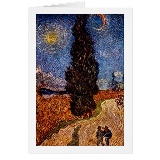 Van Gogh art painting The Cypress Road tree sky Greeting Cards
