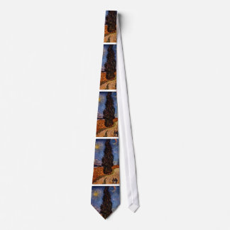 Van Gogh art painting The Cypress Road tree sky Tie