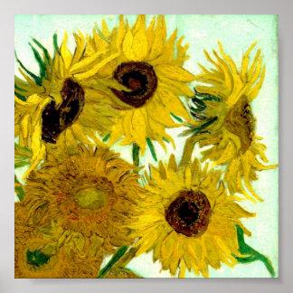Van Gogh Beaux-arts de cru de tournesols du vase Affiche
