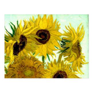 Van Gogh Beaux-arts de cru de tournesols du vase Carte Postale