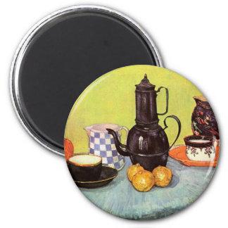 Van Gogh Blue Enamel Coffeepot, Earthenware, Fruit Magnet