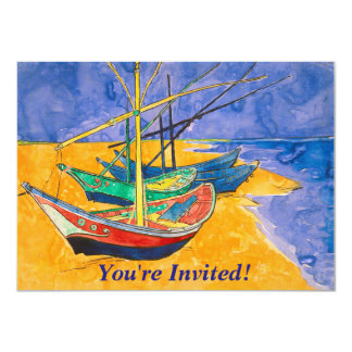 Van Gogh Boats on the Beach of Saintes-Maries Card