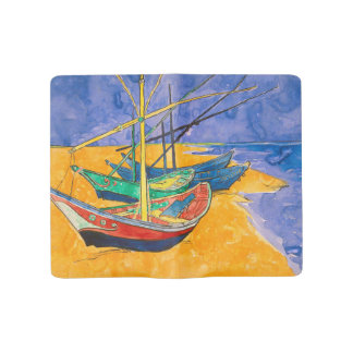 Van Gogh Boats on the Beach of Saintes-Maries Large Moleskine Notebook