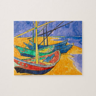 Van Gogh Boats on the Beach of Saintes-Maries Puzzles