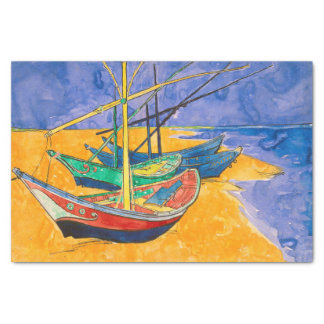 Van Gogh Boats on the Beach of Saintes-Maries Tissue Paper