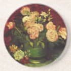 Van Gogh Bowl with Peonies and Roses, Fine Art Coaster