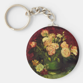 Van Gogh Bowl with Peonies and Roses, Fine Art Keychain