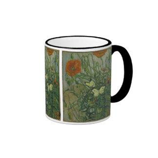 Van Gogh Butterflies and Poppies Vintage Flowers Mugs