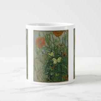 Van Gogh Butterflies and Poppies Vintage Flowers Jumbo Mug