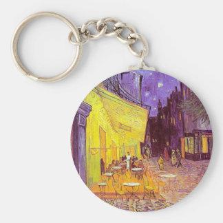 Van Gogh Cafe Impressionist Painting Basic Round Button Keychain
