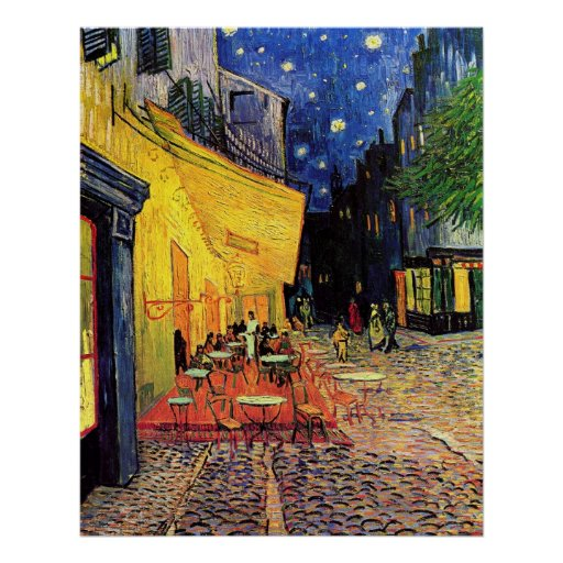 Van Gogh; Cafe Terrace at Night, Vintage Fine Art Poster