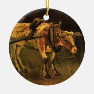 Van Gogh Cart with Red White Ox, Vintage Fine Art Ceramic Ornament