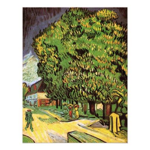 Van Gogh; Chestnut Trees in Blossom, Vintage Art Announcement