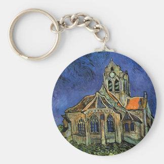 Van Gogh Church at Auvers, Vintage Architecture Basic Round Button Keychain