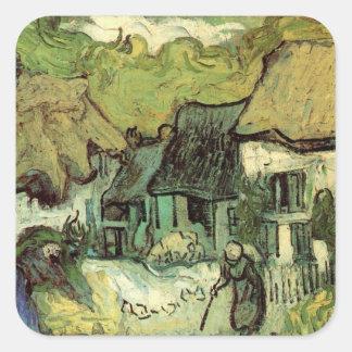 Van Gogh ; Cottages couverts de chaume Jorgus, Sticker Carré