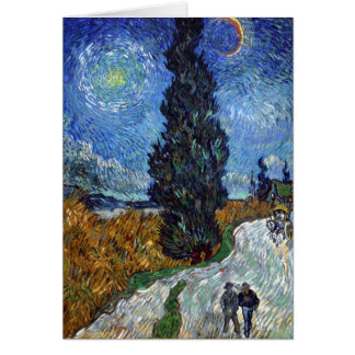 Van Gogh Country road in Provence by night Greeting Card