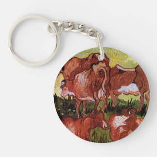 Van Gogh Cows Vintage Still Life Impressionism Art Keychain