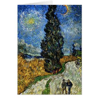 Van Gogh - Cypress against a Starry Sky Card
