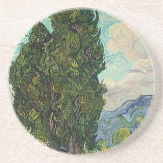 Van Gogh Cypresses Beverage Coaster