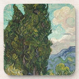 Van Gogh Cypresses Drink Coaster