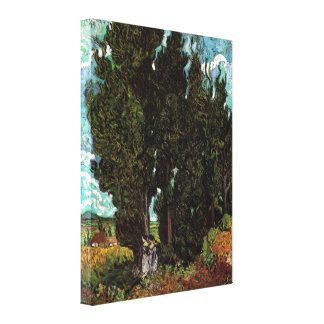 Van Gogh Cypresses with Two Female Figures Canvas Print
