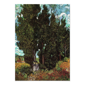 Van Gogh Cypresses with Two Female Figures Custom Invite