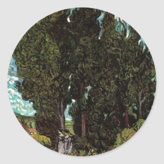 Van Gogh Cypresses with Two Female Figures Round Sticker